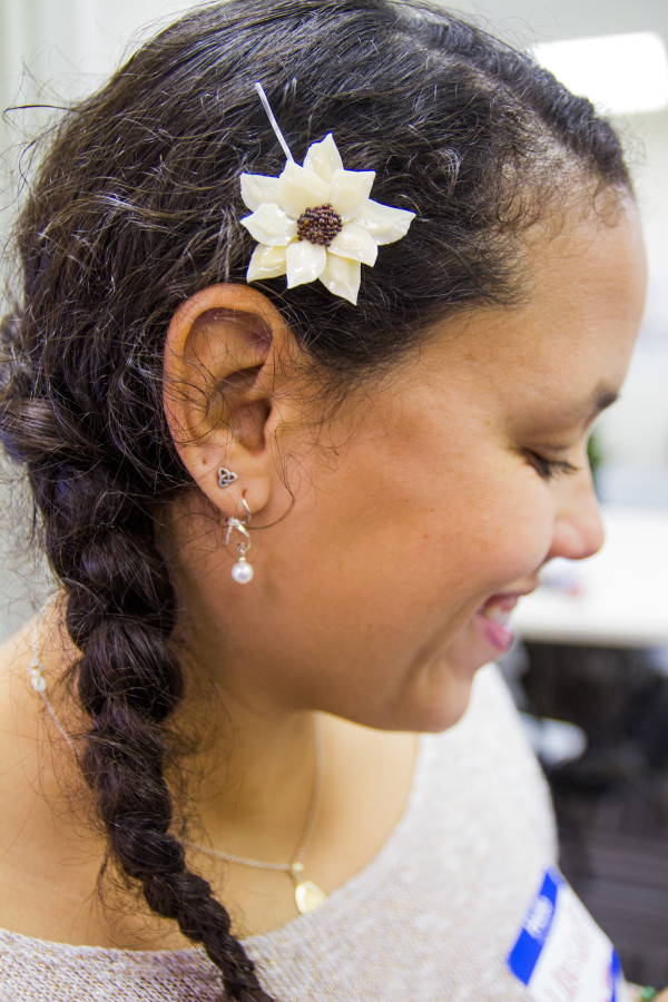 Larissa Johnson from the Young Climate Leaders Network wears an alligator hairpin made by the Houma Nation. All of the alligator is used when caught, whether for food, or tools, or jewelery.
